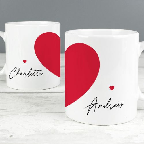 Personalised Set of 2 Red Heart Mugs Valentine, Anniversary & Wedding Gift